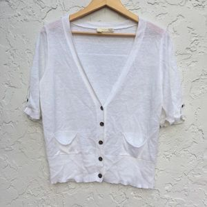 EILEEN FISHER Size Small White Linen Cardigan